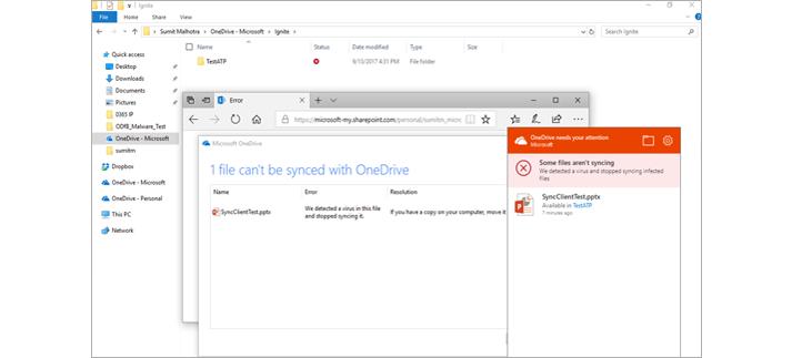 Un correo electrónico de notificación de un administrador y una ventana de la directiva de Datos adjuntos seguros.