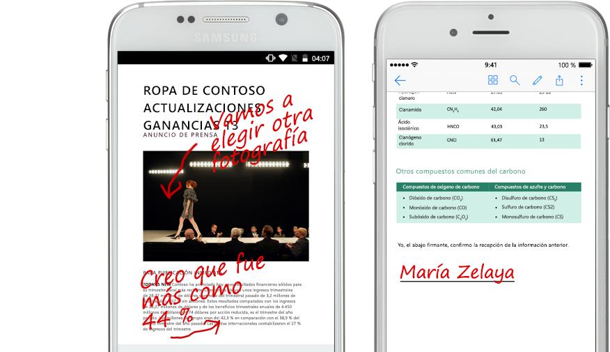 dos smartphones con documentos y notas escritas a mano acerca de ellos