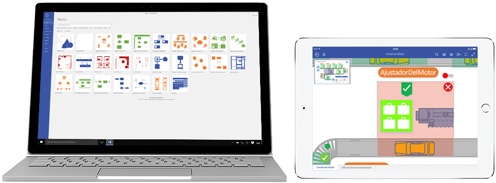 Diagramas de Visio Online Plan 2 mostrados en un portátil y un iPad.