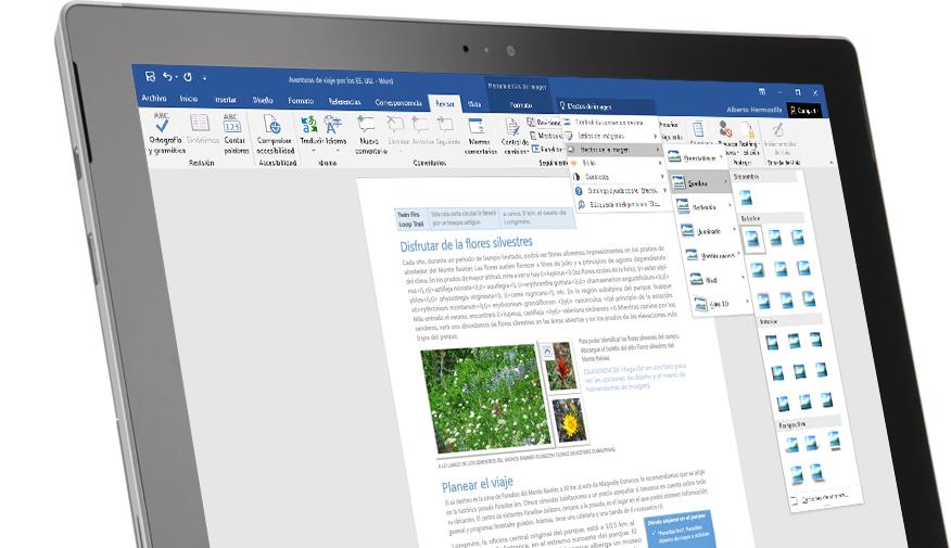 Una tableta Surface en la que se muestra la característica Información en un documento de Word