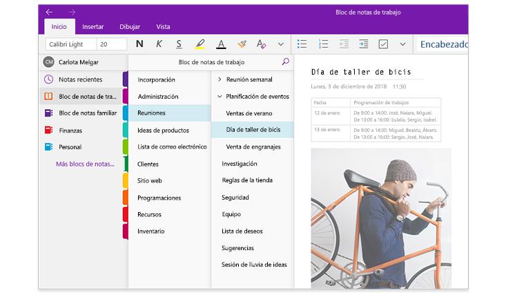 Imagen de los paneles de navegación de OneNote en los que se muestra una lista de blocs de notas y la lista de secciones y páginas en un bloc de notas titulado Bloc de notas de trabajo.