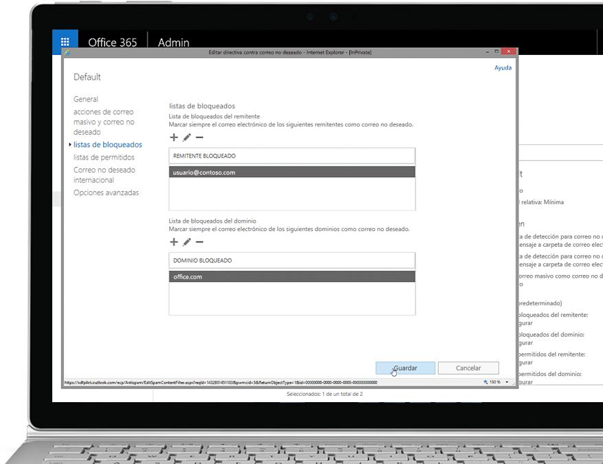 Una tableta en la que se muestra la directiva antispam de edición en la consola de administración de Office 365 con un remitente permitido y dominio