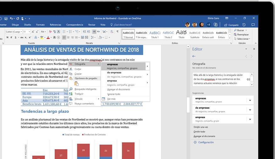 Un portátil donde se muestra un documento de Word y un primer plano de la característica Investigador con un artículo sobre la selva tropical del Amazonas.