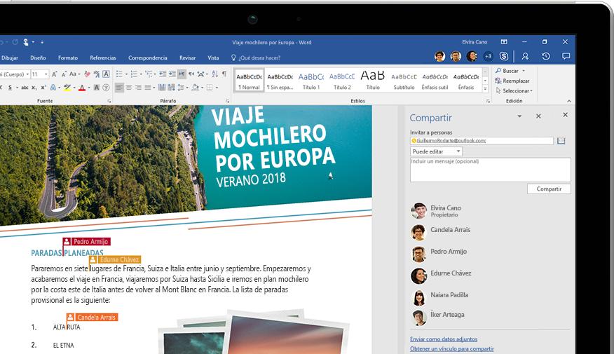 Funcionalidad Compartir de Word mostrada en un portátil