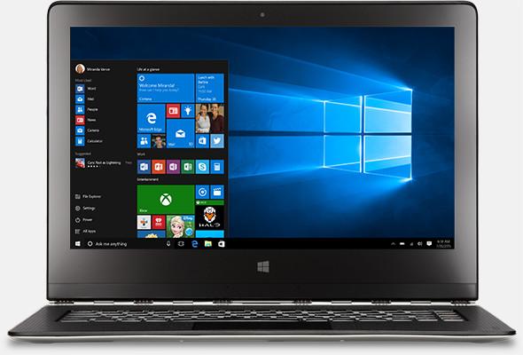 Imagen del escritorio de Windows 10 con la minipantalla Inicio.