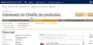 Imagen de una página de oportunidades de ventas de Microsoft Dynamics CRM Online.