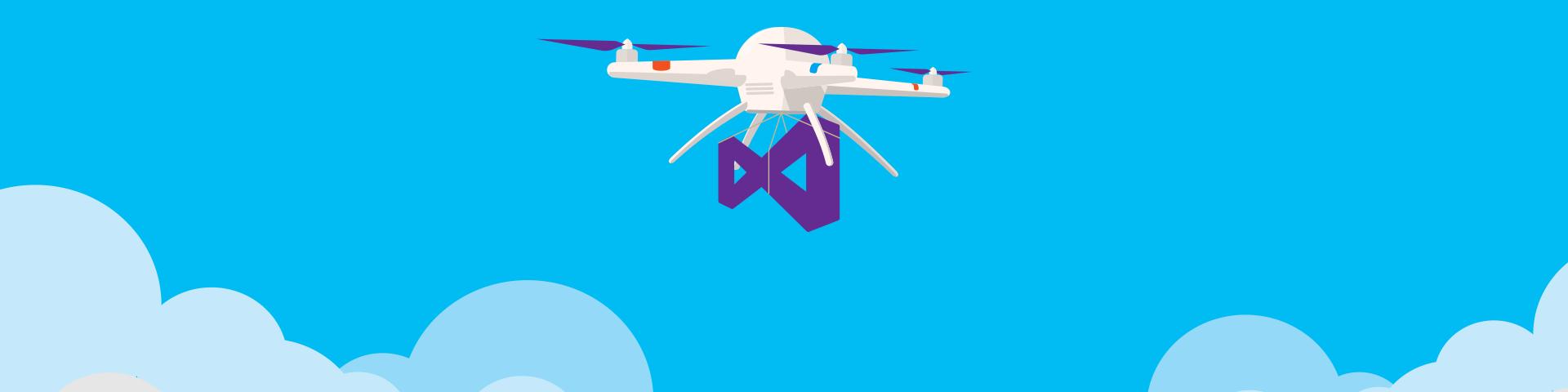 Una ilustración de un drone volando llevando el logotipo de Visual Studio