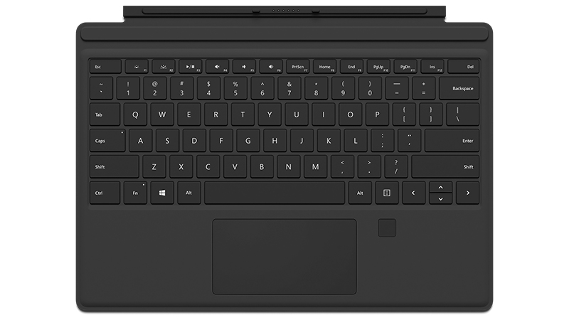 Funda negra con teclado para Surface Pro 4 con identificador de huellas dactilares, vista frontal