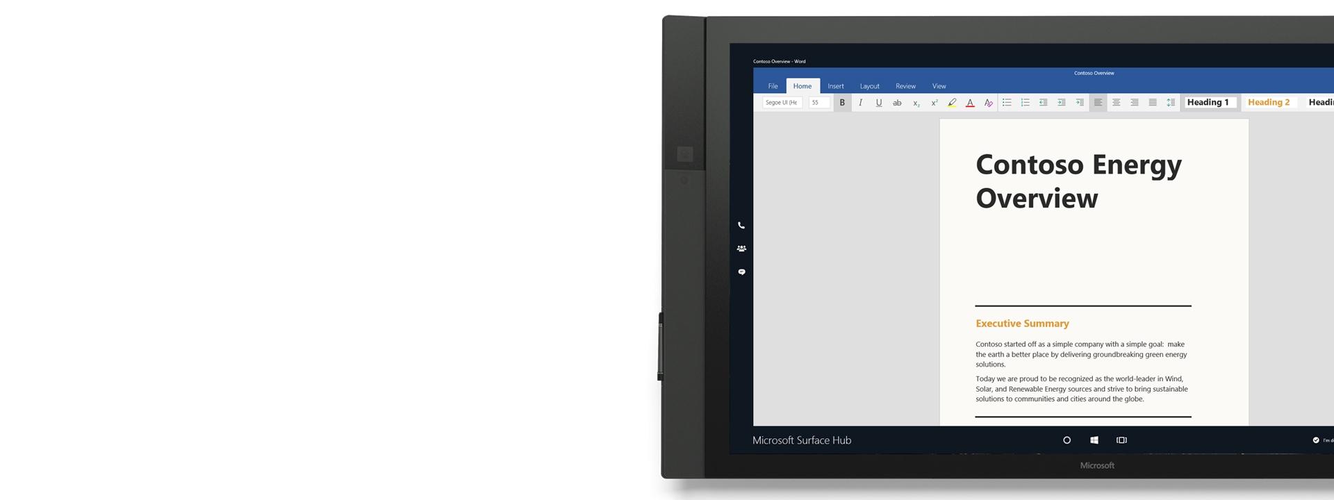 Microsoft Word que se muestra en Surface Hub.