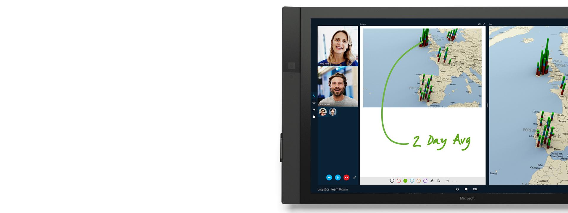 Skype Empresarial que se muestra en Surface Hub.