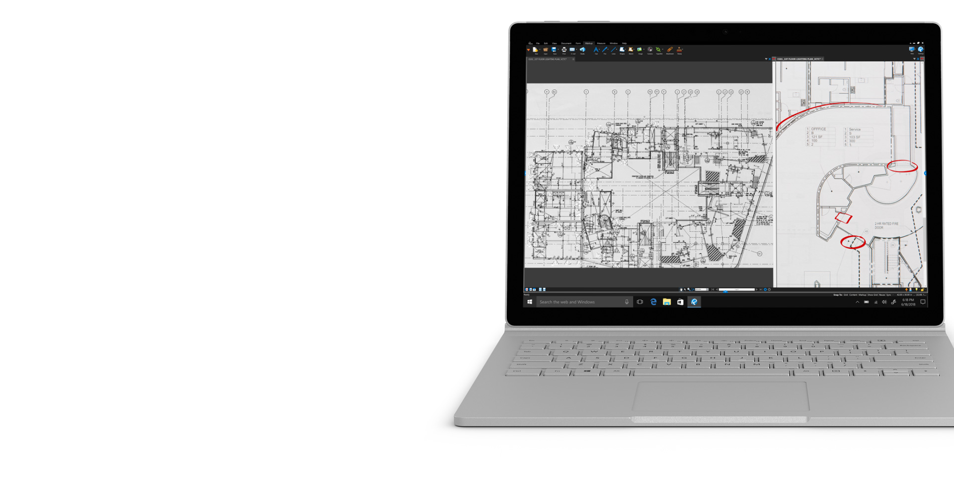 Bluebeam en la pantalla de Surface Book 2