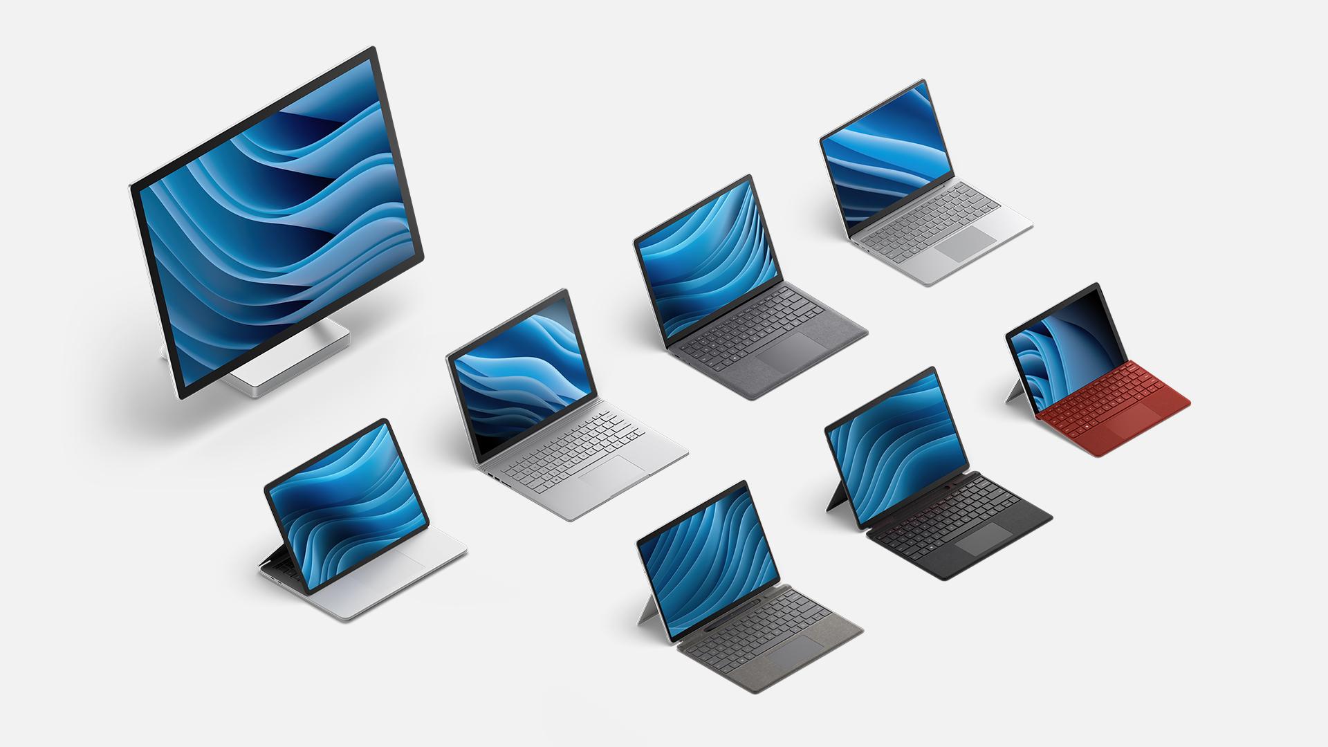 Una colección de todos los dispositivos de la familia Surface.