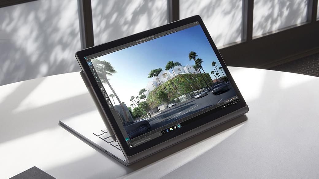 Pantalla PixelSense™ de Surface Book 2 en modo Vista con el Lápiz para Surface conectado