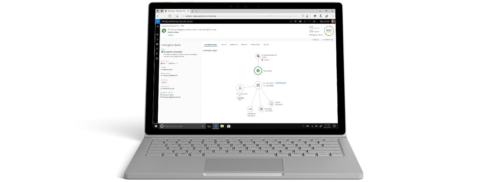 Surface Laptop con Windows Defender Center en la pantalla