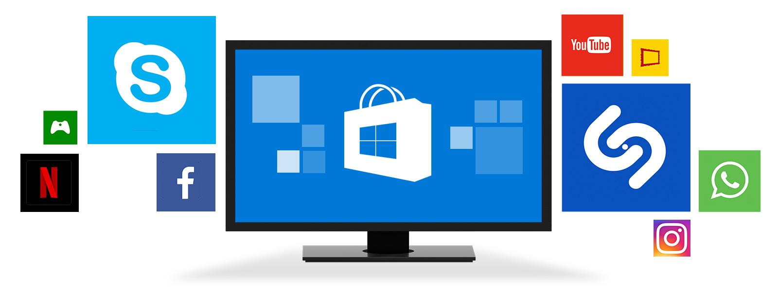 Dispositivo Windows con múltiples iconos de aplicaciones flotando a su alrededor