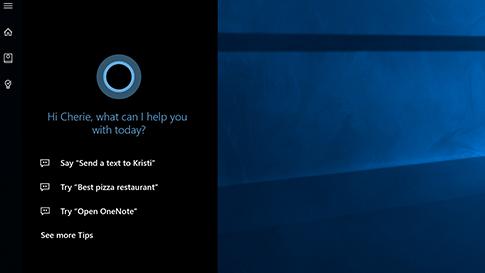 Pantalla de inicio de Cortana