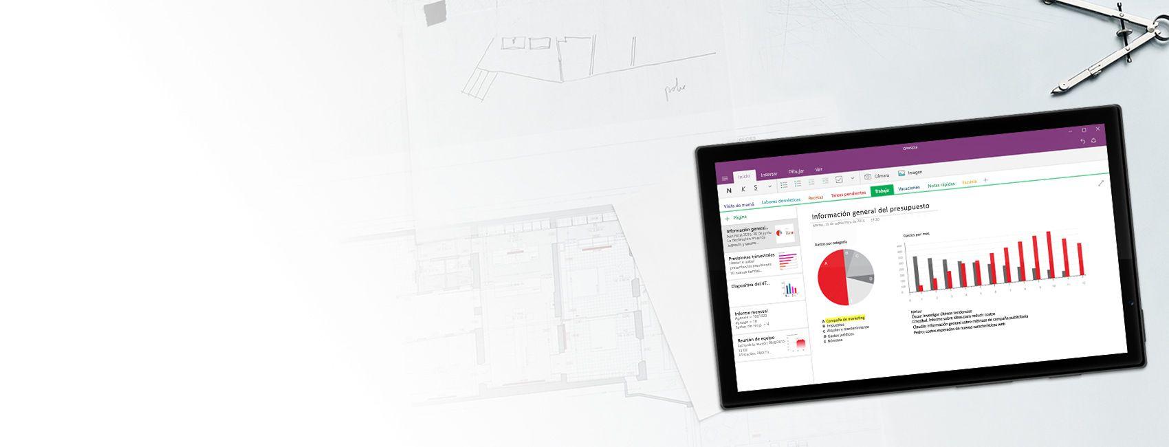 Tableta Windows en la que se muestra un bloc de notas de OneNote con diagramas y gráficos de visión general de presupuesto