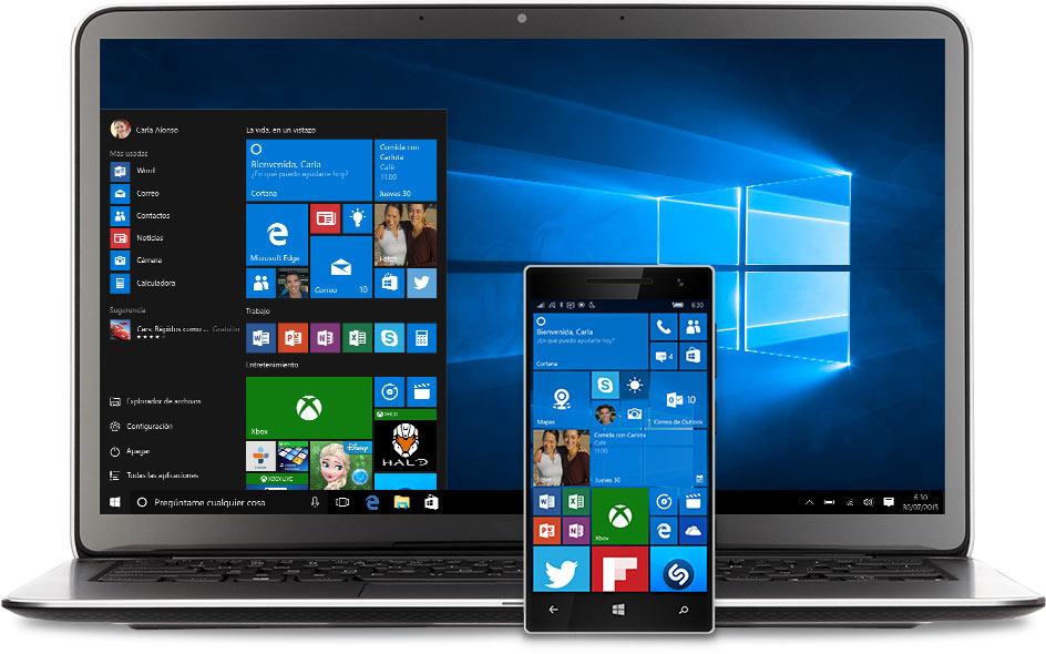 Portátil y teléfono con el menú Inicio de Windows 10