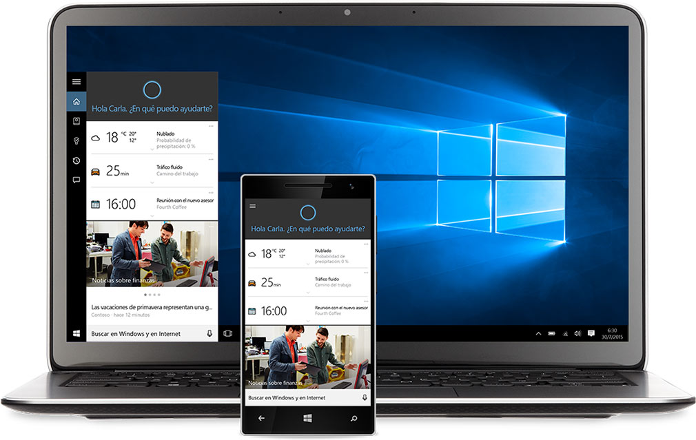 Portátil y Windows Phone con Cortana en pantalla