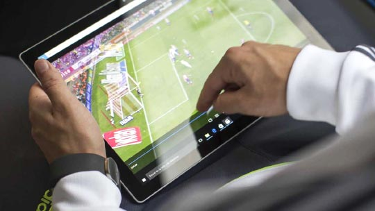 Real Madrid game being down on a Microsoft Surface