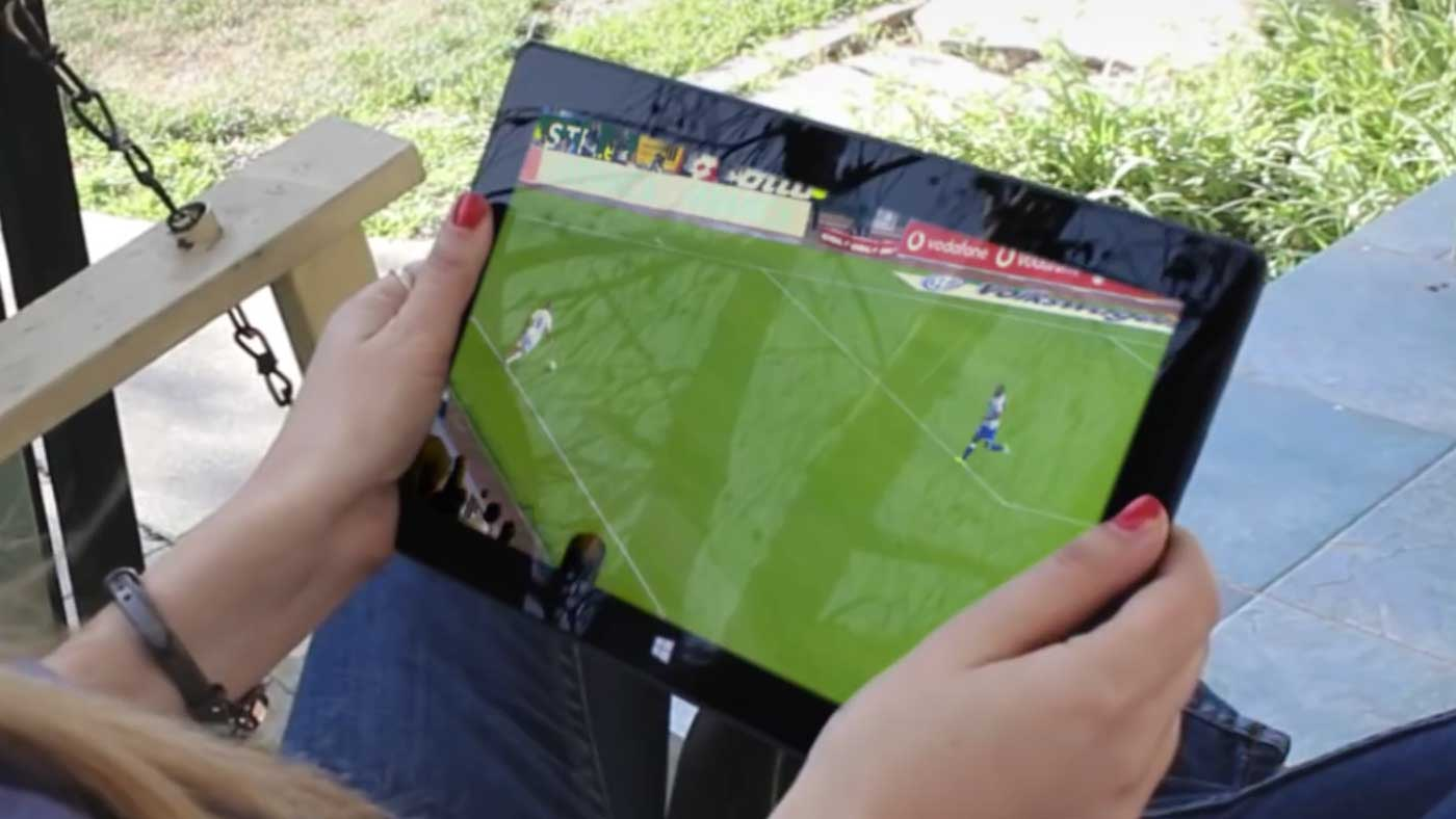 Man talking into camera about Microsoft Cloud and virtual stadium