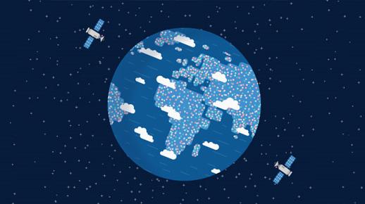 Dos satélites girando alrededor de la Tierra