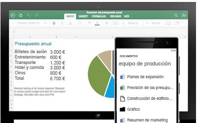 Una tableta que muestra un presupuesto anual y un smartphone que muestra los documentos compartidos de un equipo.