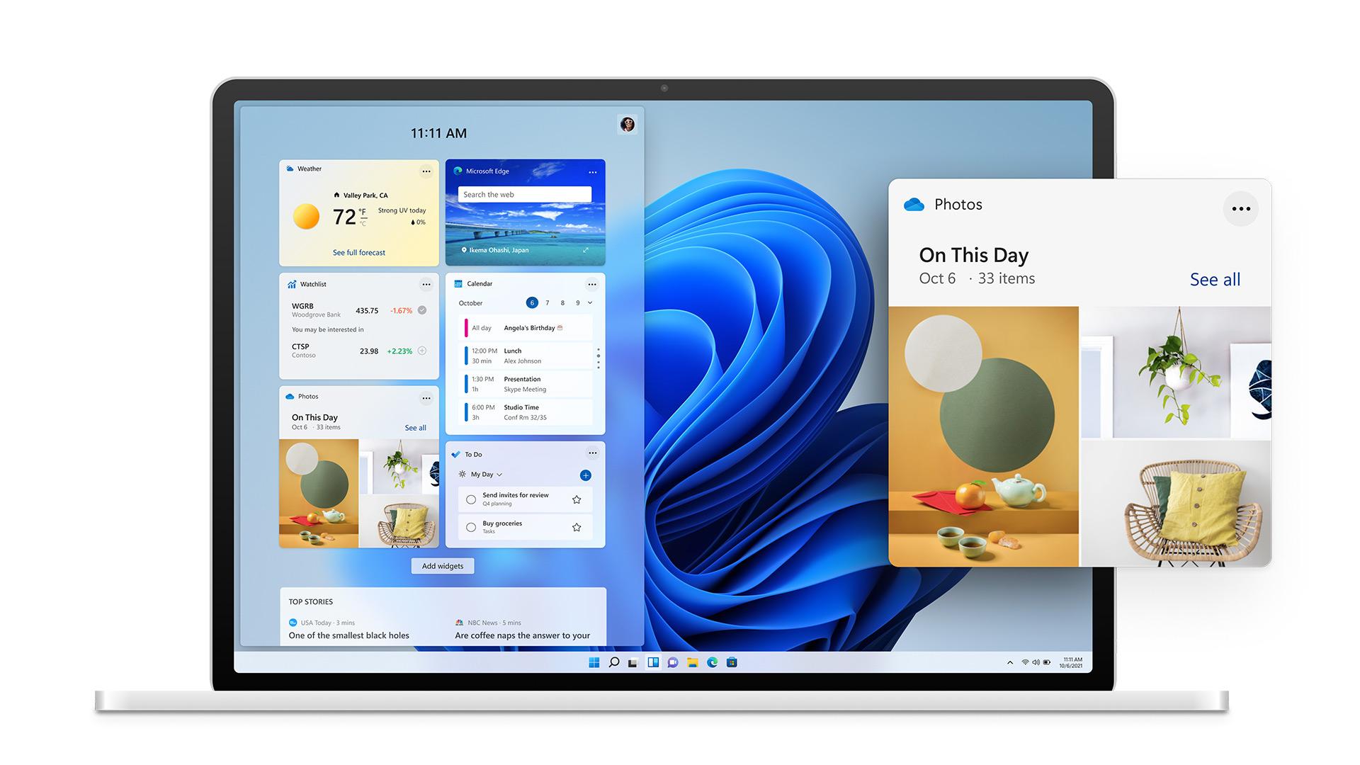 Pantalla Widgets de Windows 11