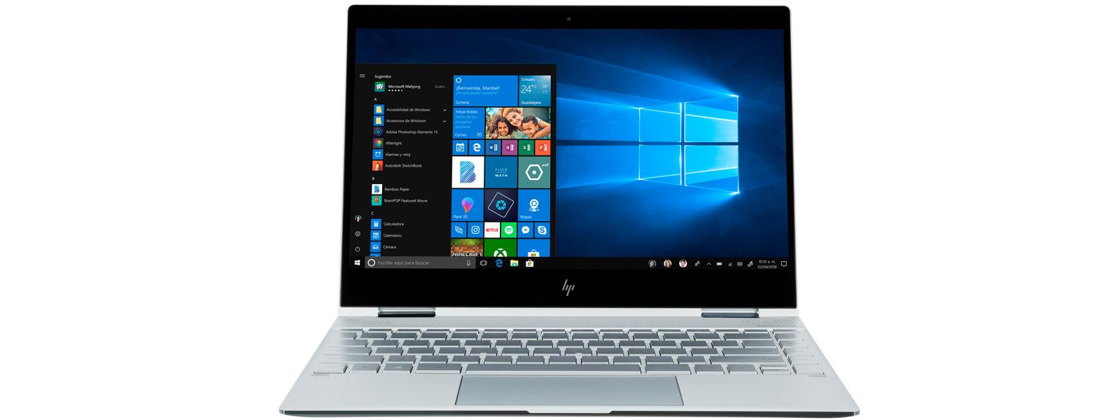 Imagen del ángulo derecho de Microsoft Surface Pro e imagen del ángulo izquierdo de HP Spectre x360 en modo carpa.