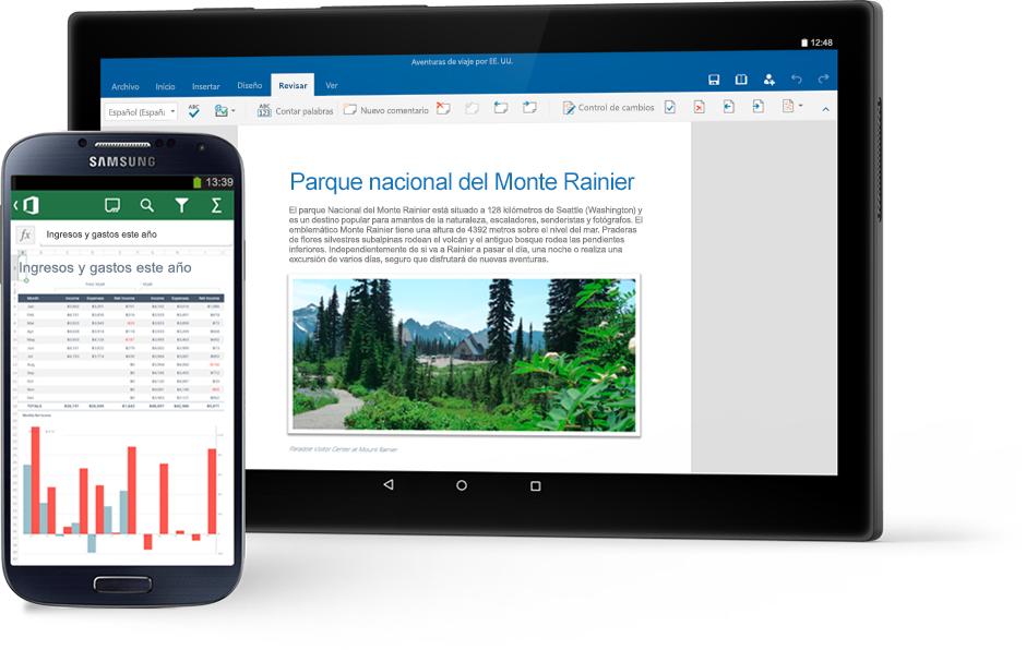 Un teléfono en el que se muestra un gráfico de Excel y una tableta                                              en la que se muestra un documento de Word sobre el Parque nacional del Monte Rainier