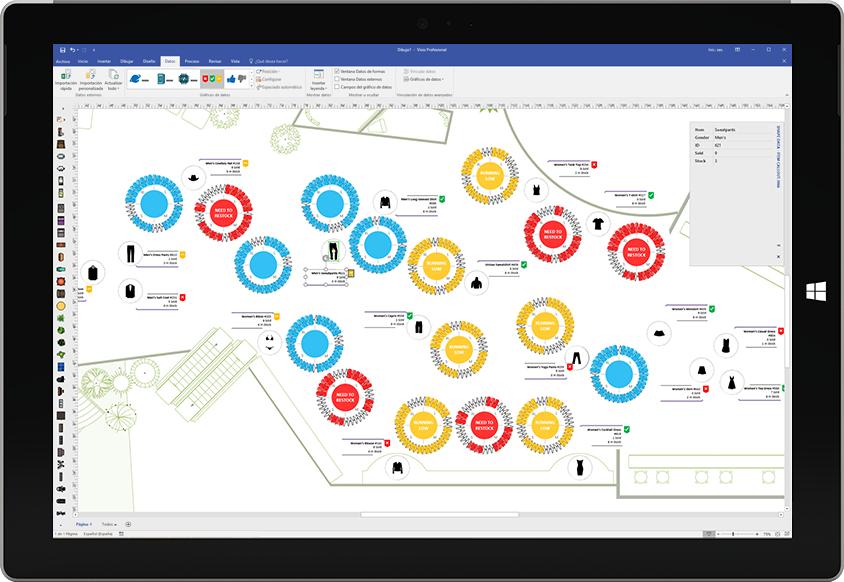 Una tableta Surface donde se muestra una visualización de datos personalizados en Visio