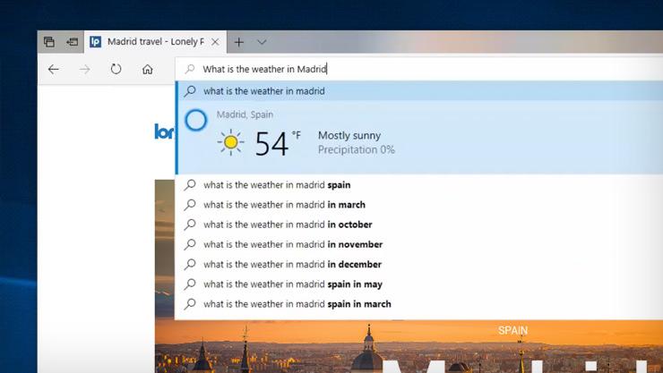Imagen de pantalla de Cortana que proporciona el tiempo en Madrid desde el explorador Edge