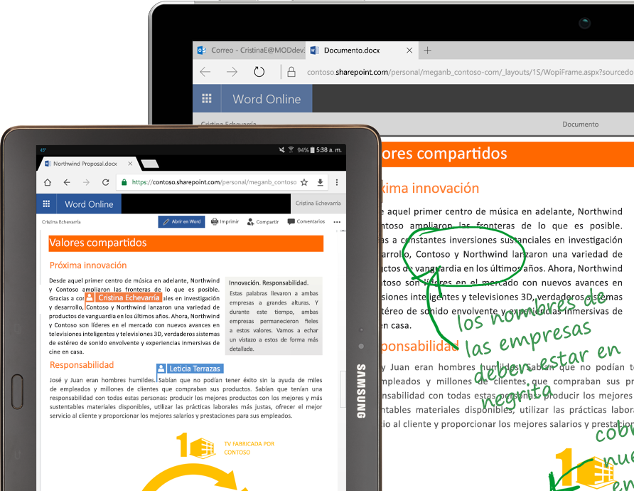 Una computadora portátil y una tableta que ejecutan Word en línea