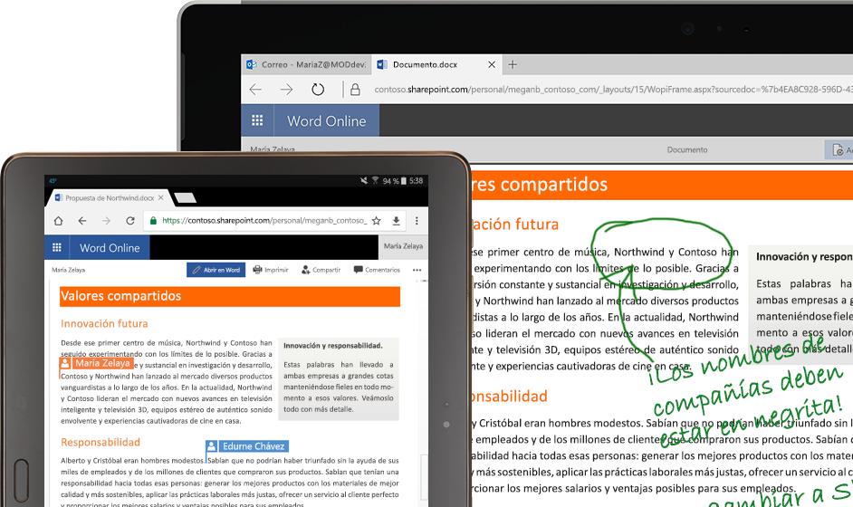 Un ordenador portátil y una tableta que ejecutan Word Online
