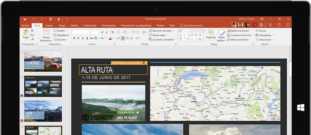 PowerPoint ejecutándose en una tableta
