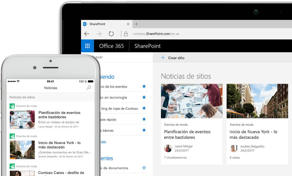 SharePoint con noticias en un smartphone y con noticias y tarjetas de sitios en una tableta