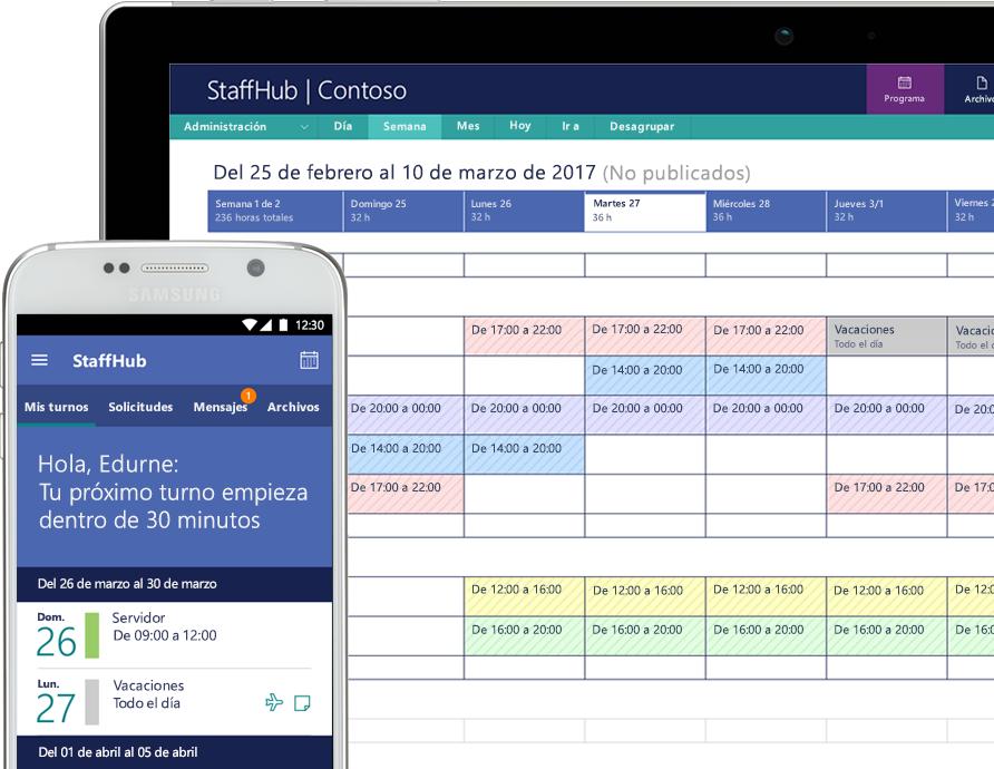 Aplicación StaffHub en la que se muestran tareas en un smartphone y una tablet PC