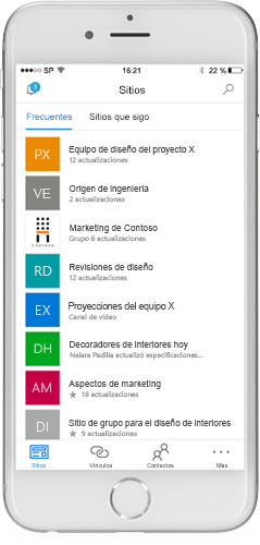 Captura de pantalla de SharePoint en un dispositivo móvil.