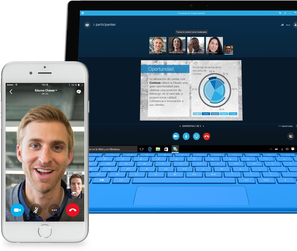 Teléfono donde se muestra la pantalla de llamada de Skype for Business y un portátil donde se muestra una llamada de Skype for Business con miembros de un equipo que comparten una presentación de PowerPoint