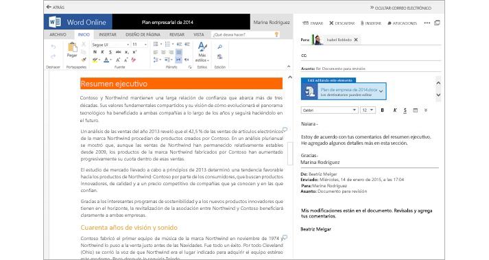 Un mensaje de correo que se muestra junto a un panel de vista previa de un documento adjunto con Word Online