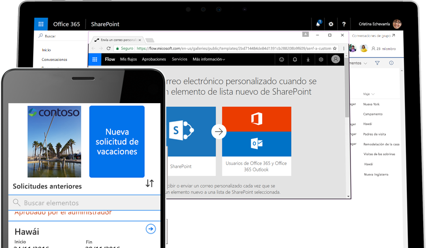 solicitud de permiso de vacaciones en Microsoft Flow en un smartphone y Microsoft Flow ejecutándose en una tableta