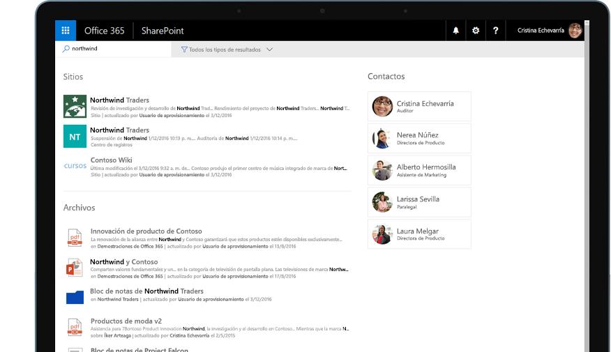 Yammer y SharePoint en una tableta