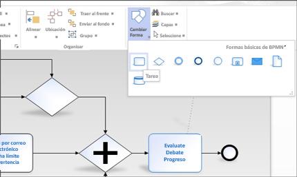 Primer plano de la cinta en un diagrama de Visio, donde se tiene fácil acceso a las tareas.