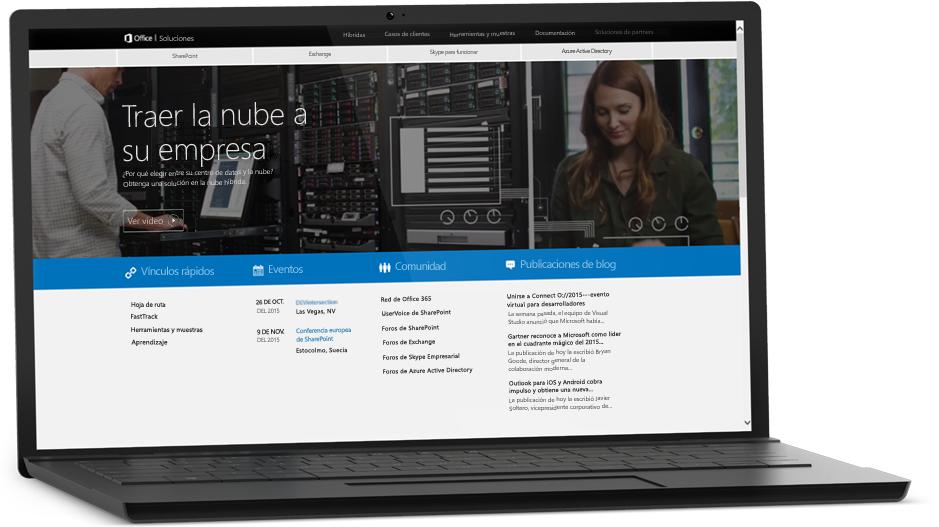 Una portátil que muestra una página web en la pantalla