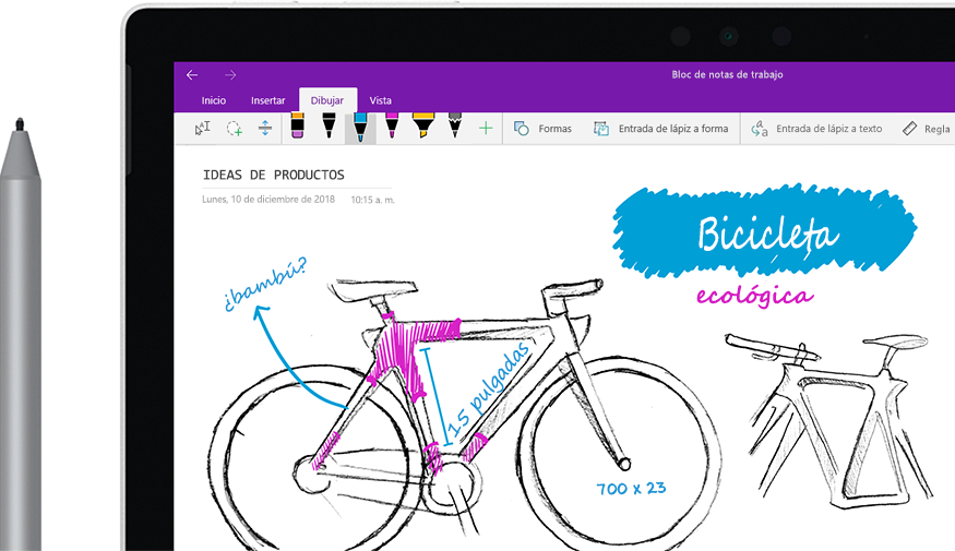 "Un lápiz digital que dibuja la imagen de una bicicleta llamada ""Ecobici"" en una tableta."