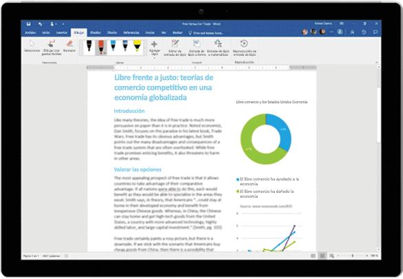 Editor para entradas de lápiz usado en un documento de Word en una tableta Surface