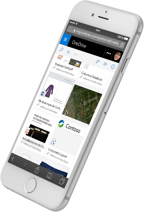 SharePoint en un teléfono inteligente que muestra varios tipos de archivos; explorar SharePoint Server 2016 en Microsoft TechNet