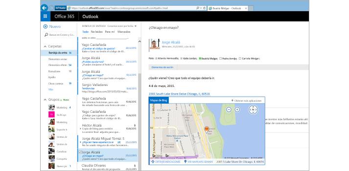 Primer plano de la bandeja de entrada de un usuario en Outlook en la Web, con tecnología de Exchange.