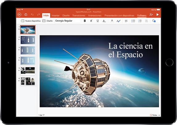 Tableta que muestra una presentación de Ciencias espaciales. Obtenga información acerca de las aplicaciones y las características que le ayudan a ser más productivo en Office.