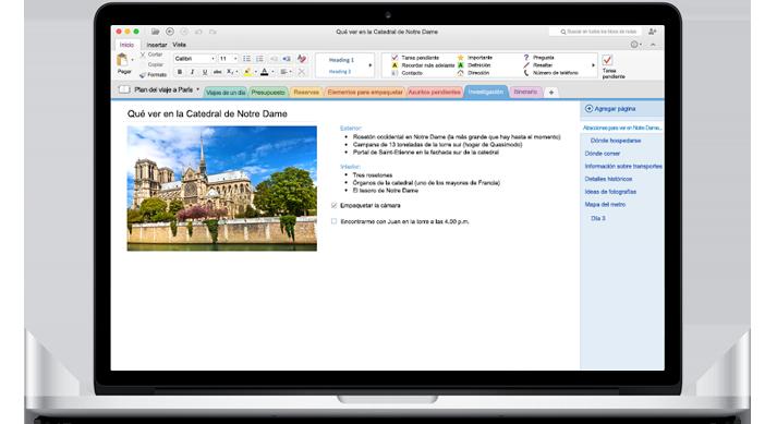 Un MacBook que muestra un bloc de notas abierto en el nuevo OneNote para Mac.